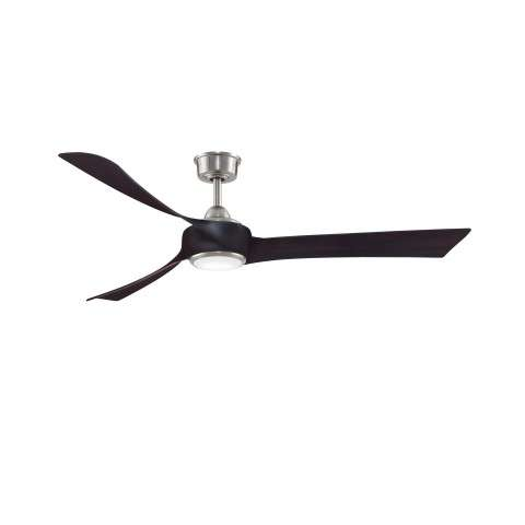"Fanimation MAD8531BN Custom Wrap 64 Inch Ceiling Fan in Brushed Nickel. Shown with BPW8531-64DWA 64"" Dark Walnut Colored Blades and LK8530BN LED Light Kit."