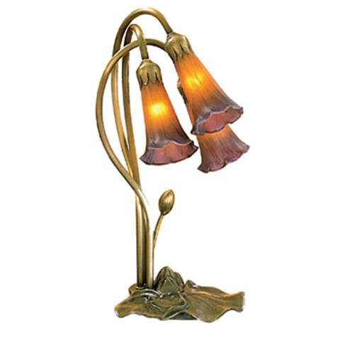 Meyda Tiffany 13674 Amber/Purple Pond Lily 3 Lt Accent Lamp in Mahogany Bronze finish
