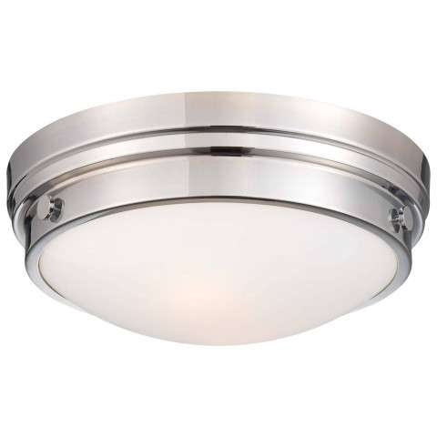 Minka Lavery 2 Light Flush Mount In Chrome Finish W/Clear Glass/White Paint Inside