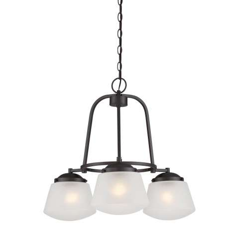Mason 3 Light Chandelier in Satin Bronze
