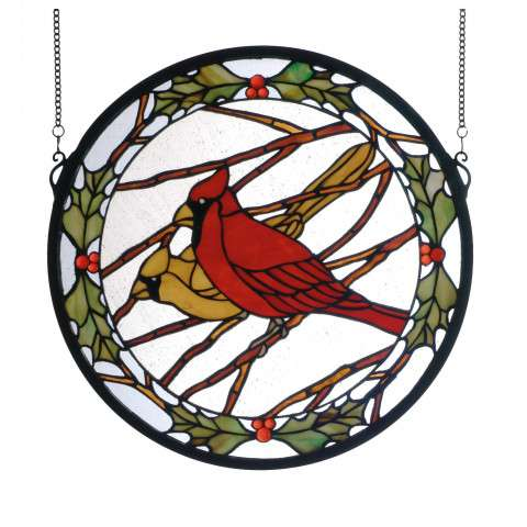 Meyda Tiffany 65289 Cardinals and Holly Medallion Stained Glass Window in Bark Brown finish with Clear Seedy Glass