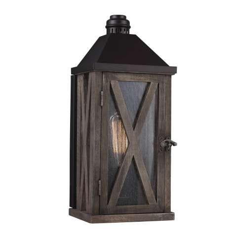 Lumiere´ 1 Bulb Dark Weathered Oak / Oil Rubbed Bronze Outdoor Lantern