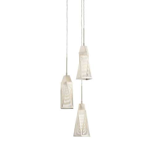 Vitalina 3LT LED Mini Pendant Spiral in Brushed Nickel and Stainless Steel
