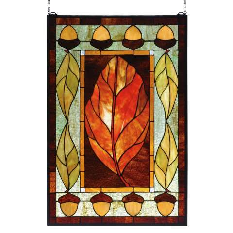Meyda Tiffany 73207 Harvest Festival Stained Glass Window in Solid Brass finish