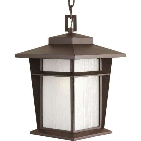 "Loyal Antique Bronze 1-Lt. Hanging Lantern w/Bulb (9"") Etched seeded glass panels"