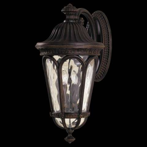 Murray Feiss OL5604WAL Regent Court Outdoor Lantern in Walnut finish with Blown clear water glass shade