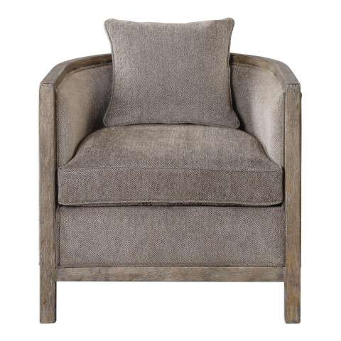 Viaggio Gray Chenille Accent Chair