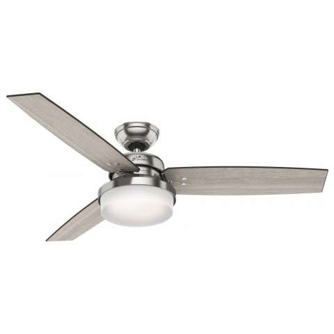 "Hunter 52"" Sentinel Brushed Nickel Ceiling Fan with Light with Handheld Remote"