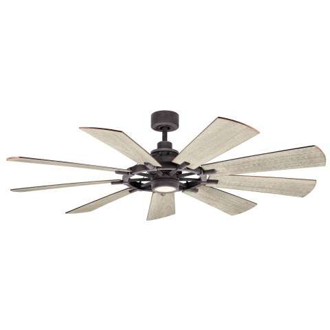 Kichler 65 Inch Gentry LED Ceiling Fan Model 300265WZC - Weathered White Walnut