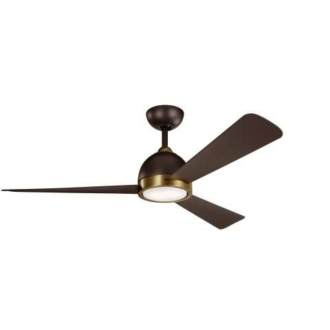 Kichler 300270SNB Incus 56 Inch LED Ceiling Fan is Satin Natural Bronze with Satin Brass Accents and Satin Natural Bronze Blades.