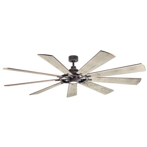 Kichler 85 Inch Gentry XL LED Ceiling Fan Model 30028WZC - Weathered White Walnut Blades