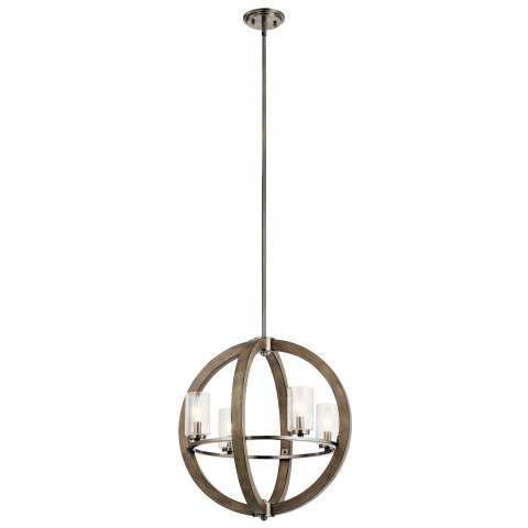 Grand Bank Chandelier 4 Light in Distressed Antique Gray