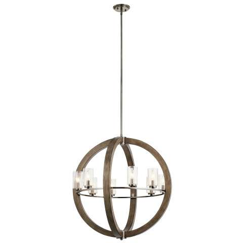 Grand Bank Chandelier 8 Light in Distressed Antique Gray