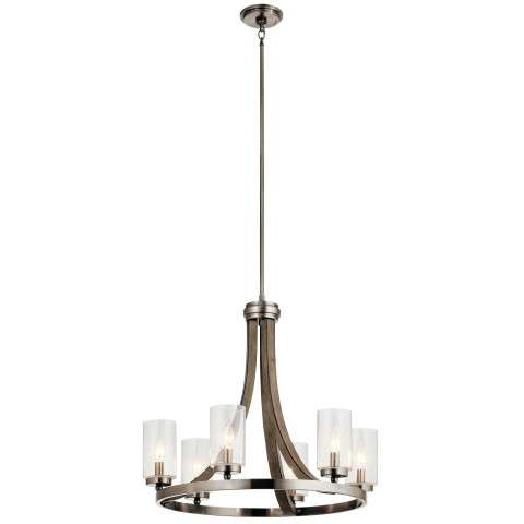 Grand Bank Chandelier 6 Light in Distressed Antique Gray