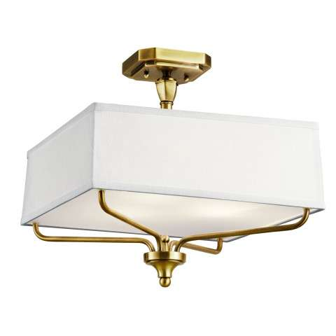 Arlo Semi Flush 3 Light in Natural Brass