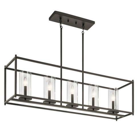 Crosby Transitional Linear Chandelier 5Lt In Olde Bronze