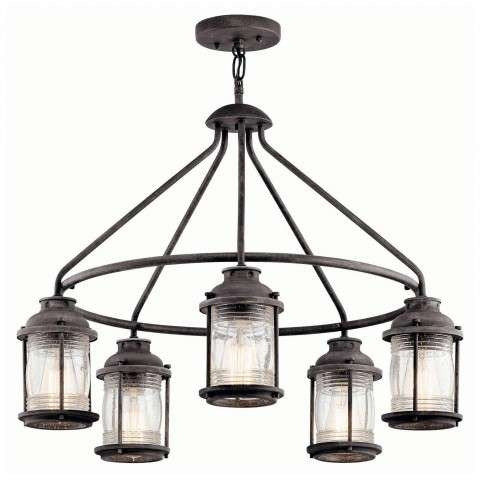 Kichler Outdoor fixture Model 49667WZC Ashland Bay Outdoor Chandelier 5Lt in Weathered Zinc