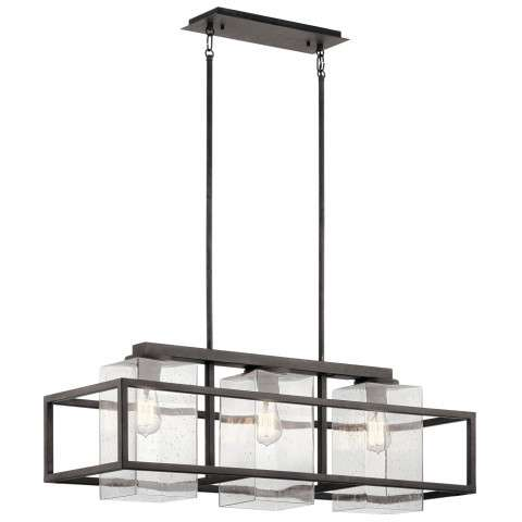 Kichler 49805WZC Wright Outdoor Linear Chandelier 3 Light in Weathered Zinc