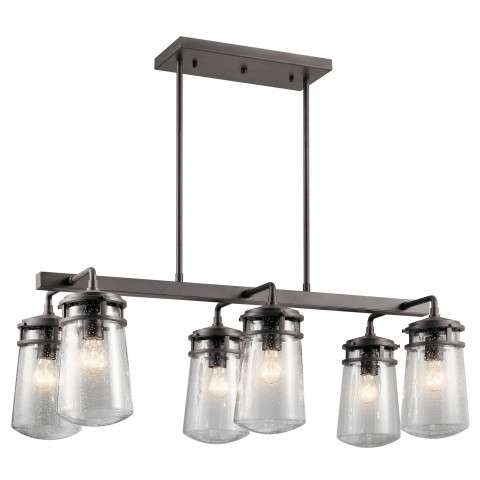 Lyndon Outdoor Linear Chandelier 6 Light in Architectural Bronze