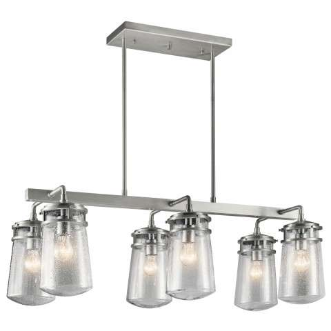 Lyndon Outdoor Linear Chandelier 6 Light in Brushed Aluminum