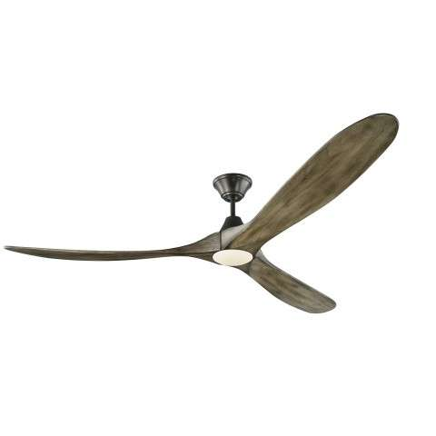 Monte Carlo Maverick 70 Inch LED Ceiling Fan Model 3MAVR70AGPD in Aged Pewter with Light Grey Weathered Oak Hand Carved Balsa Wood blades