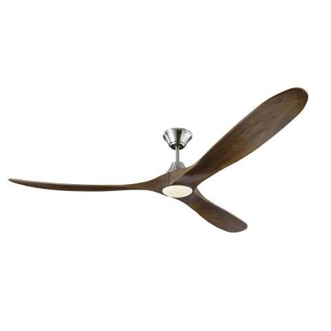 Monte Carlo Maverick 70 Inch LED Ceiling Fan Model 3MAVR70BSD in Brushed Steel with Dark Walnut Hand Carved Balsa Wood blades