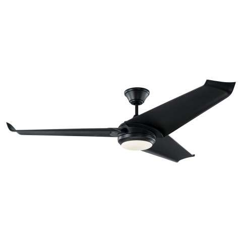 "Monte Carlo 60"" Orville LED Ceiling Fan Model 3OVR60BKBKD In Matte Black"
