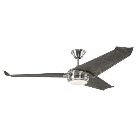 "Monte Carlo 60"" Orville LED Ceiling Fan Model 3OVR60BSLGWOD In Brushed Steel"