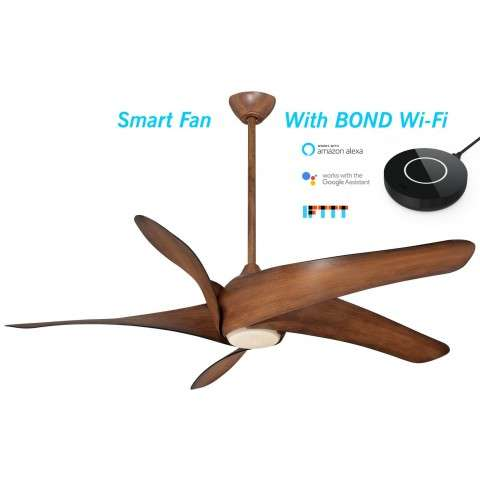 Minka Aire Artemis XL5 LED Ceiling Fan Model F905L-DK in Distressed Koa - With Light - BOND Wi-Fi