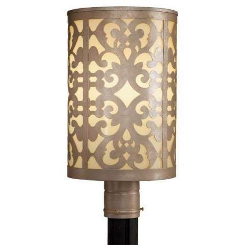 Minka Lavery 1 Light Post Mount In Nanti Champagne Silver Finish w/Etched Vanilla Glass