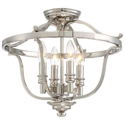 Audrey's Point 4 Light Semi Flush In Polished Nickel