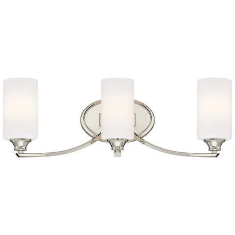 Tilbury 3 Light Bath In Polished Nickel w/Etched Opal Glass Shade
