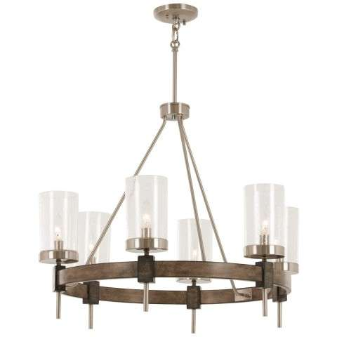 Bridlewood 6 Light Chandelier In Stone Grey w/Brushed Nickel