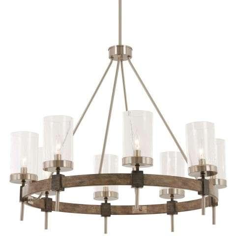 Bridlewood 8 Light Chandelier In Stone Grey w/Brushed Nickel