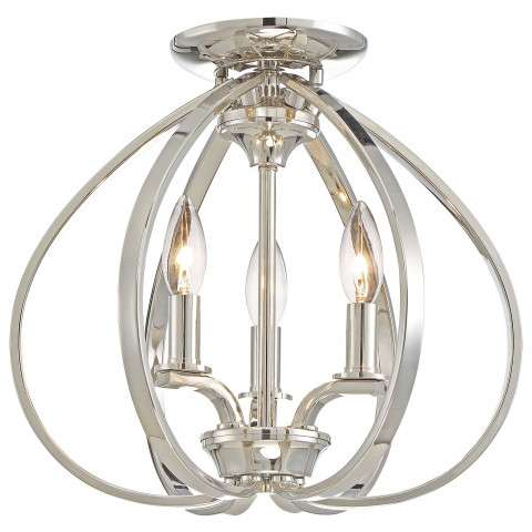 Tilbury 3 Light Semi Flush Mount In Polished Nickel