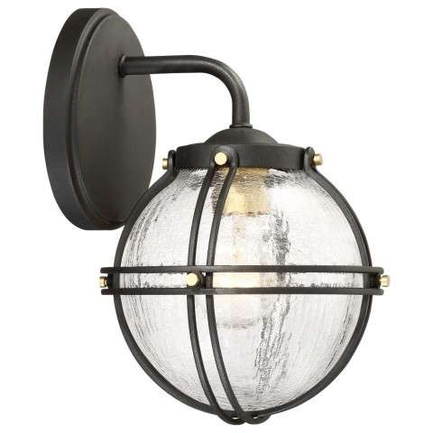 Rond Fixture In Black With Honey Gold Highlights