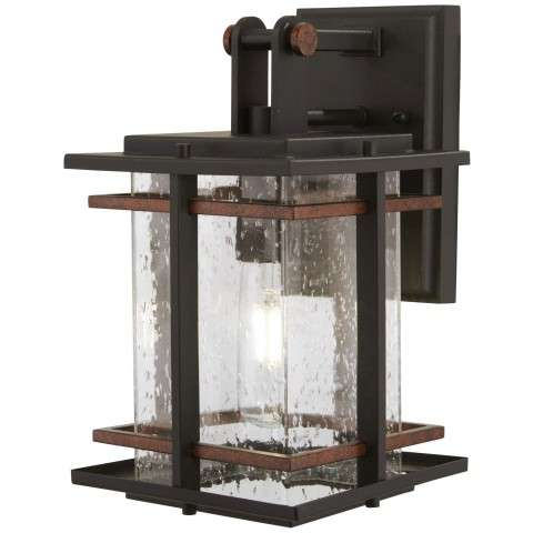 Minka Lavery 72491-68 San Marcos 1 Light Outdoor Wall Mount In Black w/Antique Copper Accents