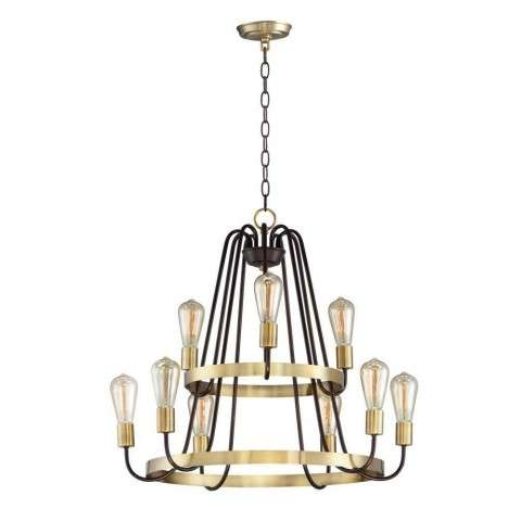 Haven 9-Light Chandelier in Oil Rubbed Bronze / Antique Brass
