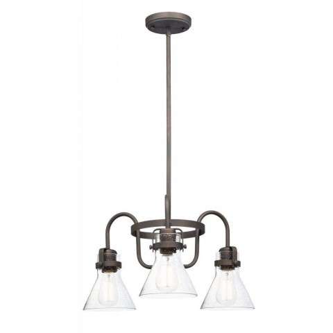 Seafarer 3-Light Chandelier With Bulbs in Oil Rubbed Bronze