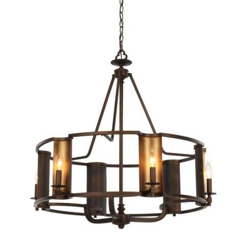 Candella 6-Light Chandelier in Chestnut Bronze / Gold