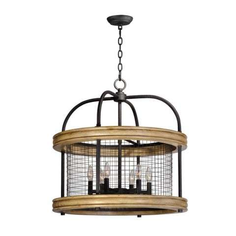 Lancaster 6-Light Chandelier in Driftwood / Black