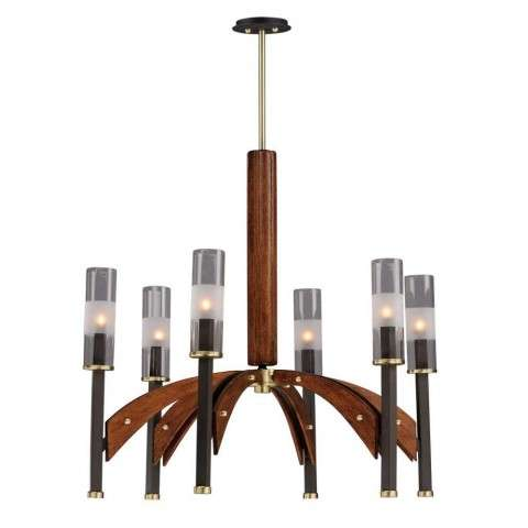 Merge 6-Light Chandelier in Bronze / Antique Pecan