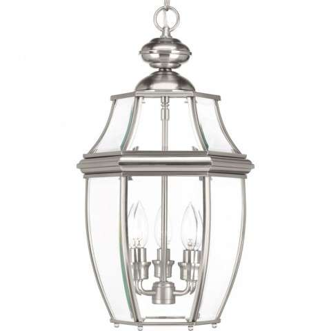 New Haven Collection Three-Light Hanging Lantern In Brushed Nickel