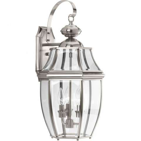 New Haven Collection Three-Light Large Wall Lantern In Brushed Nickel