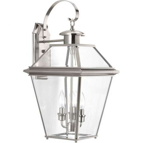 Burlington Collection Three-Light Large Wall Lantern In Brushed Nickel