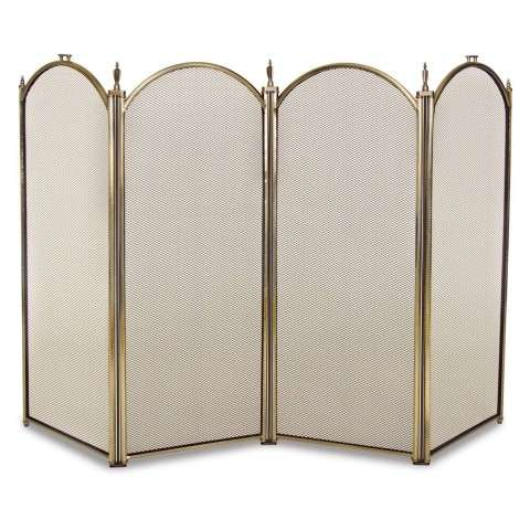 Napa Mendocino 4 Panel Folding Screen - Antique Brass