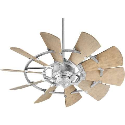 "44"" Quorum Windmill Ceiling Fan Damp Rated Model 194410-9 in Galvanized"