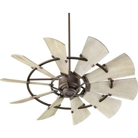 "Quorum 52"" Windmill Ceiling Fan Damp Rated Model 195210-86 in Oiled Bronze with Weathered Oak blades"