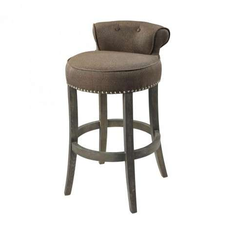 Saloon Bar chair in Taupe w/Dark Wood