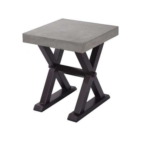 Desert Side Table In Polished Concrete And Rust